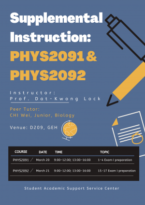 Supplemental Instruction: PHYS2091 & PHYS2092